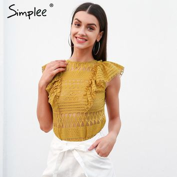 Simplee Sexy sleeveless ruffle lace blouse women O neck transparent white blouse shirt 2018 Streetwear summer blouse top female