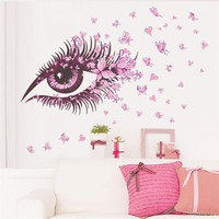 Sexy Girl Eyes Butterfly Room Decoration Wall Stickers
