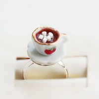 Hot Chocolate with Marshmallows Food Ring - Miniature Food Jewelry
