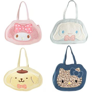Kawaii Cute Cartoon Hello Kitty Cat My Melody Dog Women Canvas Shoulder Bags Large Handbags Shopping Bags for Girls