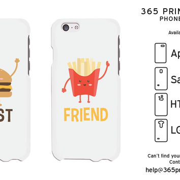 Hambuger And Fries White Cute BFF Mathing Phone Cases For Best Friends