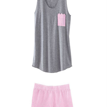 Tank and Boxer PJ Set in Pink