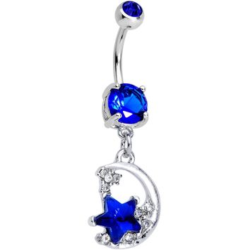 Blue Gem Starry Crescent Moon Dangle Belly Ring