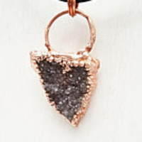 Raw Amethyst Druzy Cluster Triangle Electroformed Electroplated Copper Statement Pendant Necklace