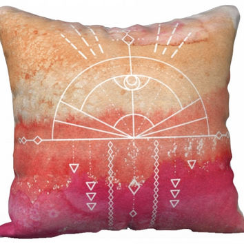 Ombre Geometry Pillow - Boho Watercolor Mandala Throw Pillow - Sunrise Southwestern Design Decor Gift - yoga studio bedroom Decor Gift