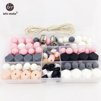 Let's Make Slicone Teether  Baby DIY Crafts Set Pacifier Clips Crib Toy And Natural Silicone Bead  Teether Necklace Pendant
