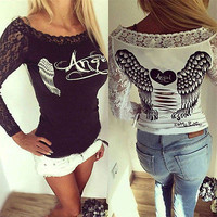 Long Sleeve Sexy Lace T-Shirt