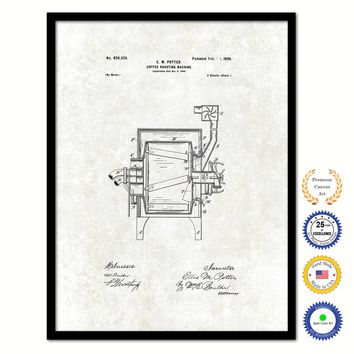 1899 Coffee Roasting Machine Vintage Patent Artwork Black Framed Canvas Print Home Office Decor Great for Coffee Lover Cafe Tea Shop