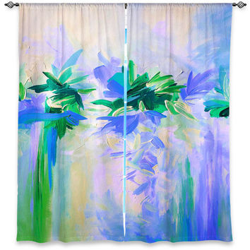 DECONSTRUCTING THE GARDEN 4 - Purple Green Window Curtains Multiple Sizes Abstract Floral Decor Bedroom Kitchen Lined Unlined Woven Fabric
