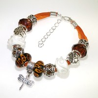 European Charm Beaded Leather Friendship Bracelet - Dragonfly