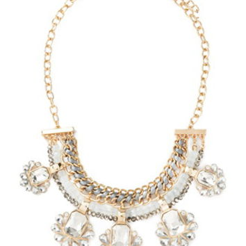 Rhinestone Chained Statement Necklace