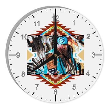 """Native American Dancer 2 8"""" Round Wall Clock with Numbers"""