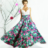 Maxi Skirt , Circle skirt, Full skirt, Long Floral Skirt, Floor length skirt, High Waisted Skirt, Plus Size Maxi Skirt, Bridesmaid Skirt