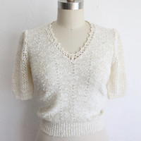 Vintage 60s Ivory White Nubby Knit Short Sleeve Sweater Top