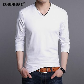 Cotton T Shirt Men New Spring Long Sleeve T-Shirt Men V-Neck T shirt Men Clothing Tops