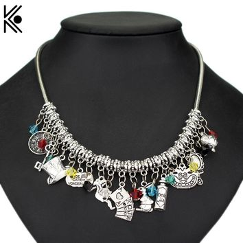 5 Types Alice in Wonderland choker necklace Maxi Punk Type Women Short Necklaces With Hat Drink Me key Fashion Accessories Gift