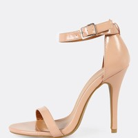 Patent Single Band Ankle Cuff Stiletto Heel NUDE