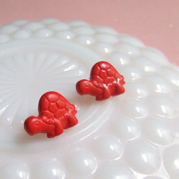 Red Turtle Stud Earrings - Post Earrings - Plastic Earrings - Tortoise Reptile - Kitsch Kawaii Cute -  Hypoallergenic Nickel Free