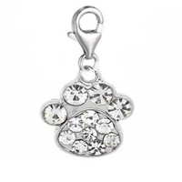 Clip on Dog Paw Charm Bead Pendant for European Clip on Charm Jewelry with Lobster Clasp