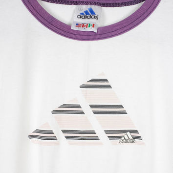 90s ADIDAS ringer tee - vintage 1990s t-shirt - retro athletic  - white pink purple -  large