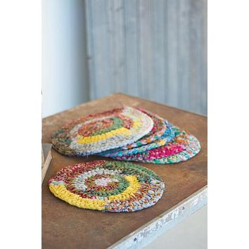 Set Of 6 Round Knitted Kantha Placemats