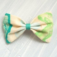 Large Unique Print Fabric Hair Bow Barrette,  Light Blue, Teal and Lime green for women and girls.
