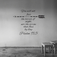 Wall Decals Quotes Vinyl Sticker Decal Art Home Decor Mural Psalm 91:5 Quote Bible Verse Wall Decal Arrows Fashion Bedroom Dorm AN469