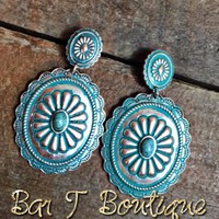 Silver Patina Concho Earrings