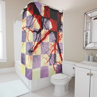 Abstracted Black and Orange Tree Branches Shower Curtain