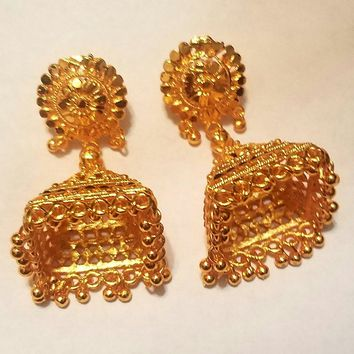 Gold Indian Pyramid Earrings