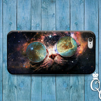iPhone 4 4s 5 5s 5c 6 6s plus iPod Touch 4th 5th 6th Generation Cover Custom Cat Funny Glasses Galaxy Space Nebula Animal Kitty Cute Case