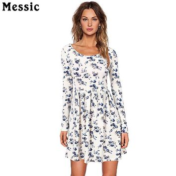 Messic Women Autumn Spring Vintage Dress Long Sleeved Print Floral Dress Women Retro Vintage Elegant Tunic Vestidos Knit Dresses