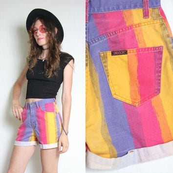 90s High Waist Shorts - High Waisted Shorts - 90s 1990s Denin Shorts - Jean Shorts - Striped Shorts - Colorful Soft Grunge Goth Cute Kawaii
