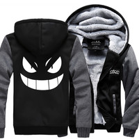 H002 New Winter Jackets and Coats Pocket Monster hoodie Anime Gengar Pokemon Hooded Thick Zipper Men cardigan Sweatshirts