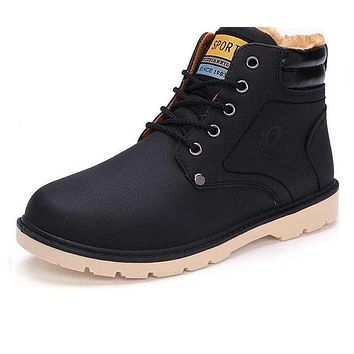 Newest Keep Warm Men Winter Boots High Quality pu Leather Casual Boots Working Fahsion Boots Essential Shoes