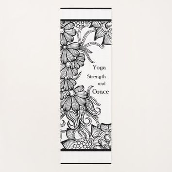 Black White Flowers Yoga Mat