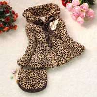 Best Quality!! Baby Children Girls Winter Leopard Faux Fur Coat Clothing With Bowknot/Small Bag