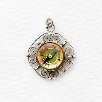 19th Century German Petit Compass Pendant / Rare Miniature Compass Jewelry