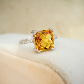 Luxurious 925 silver engagement ring Emerald Cut natural 2ct brilliant citrine wedding ring 925 Solid Sterling Silver jewelry