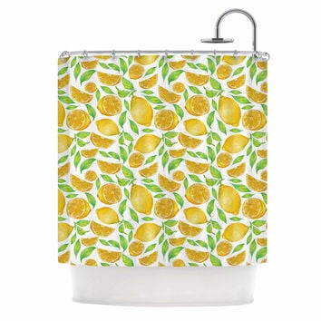 "Alisa Drukman ""Lemons"" Yellow Floral Shower Curtain"