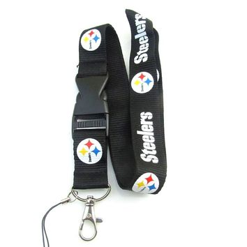 Pittsburgh Steelers Lanyard Neck Strap For ID Pass Card Badge Mobile Phone USB Holder USA Football DIY Hang Rope Necklace Dropsh