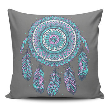 Dream Catcher Grey Spiritual Pillow Covers