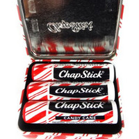 Chapstick Limited Edition Holiday Tin Includes 3 Candy Cane Sticks