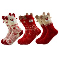 New 2017 Women Sock Winter Warm Christmas Gifts Stereo Socks Soft Cotton Cute Santa Claus Deer Socks Xmas Christmas socks S01