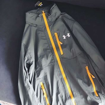 Under Armour Stylish Trending Women Men Thin And Light Prevent Bask In Zipper Hoodie Outdoor Coat Jacket Grey I-XMCP-YC