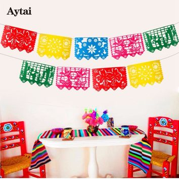 Aytai Mexican Banner Garland Wedding Flag Banner Decorations for Themed Party Papel Picado Halloween Birthday Party