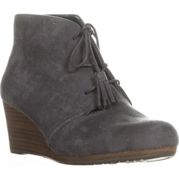 Dr. Scholl's Dakota Wedge Lace Up Ankle Booties, Dark Grey, 7 US / 37 EU