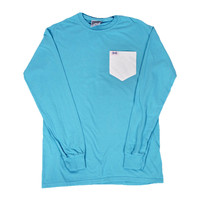 The Signature Unisex Long Sleeve Tee Shirt in Marlin Blue by the Fraternity Collection