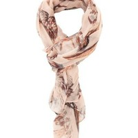 Pink Combo Feather Print Wrap Scarf by Charlotte Russe
