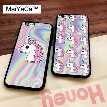 MaiYaCa CUTE UNICORN PASTEL METALLIC HOLOGRAPHIC Soft Rubber Phone Cases For iPhone 6 6S 7 8 Plus X 5 5S SE Back Cover Skin